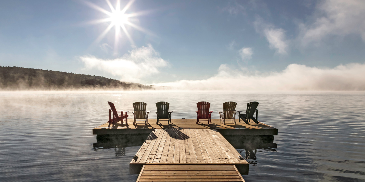 mist on the lake of two rivers at killarney lodge algonquin park