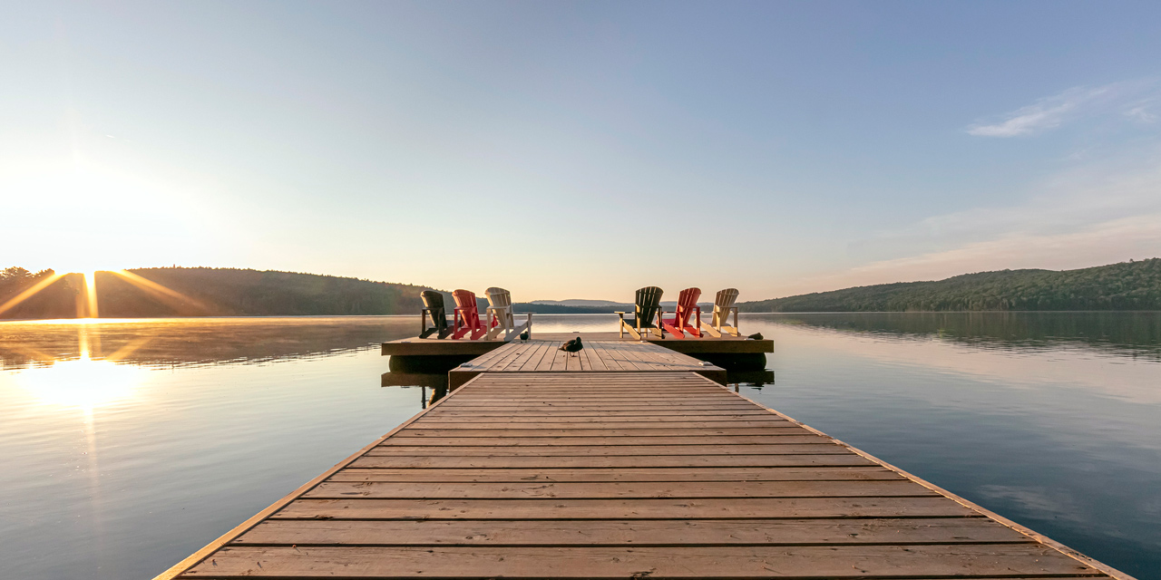 sunrise on dock at country retreat