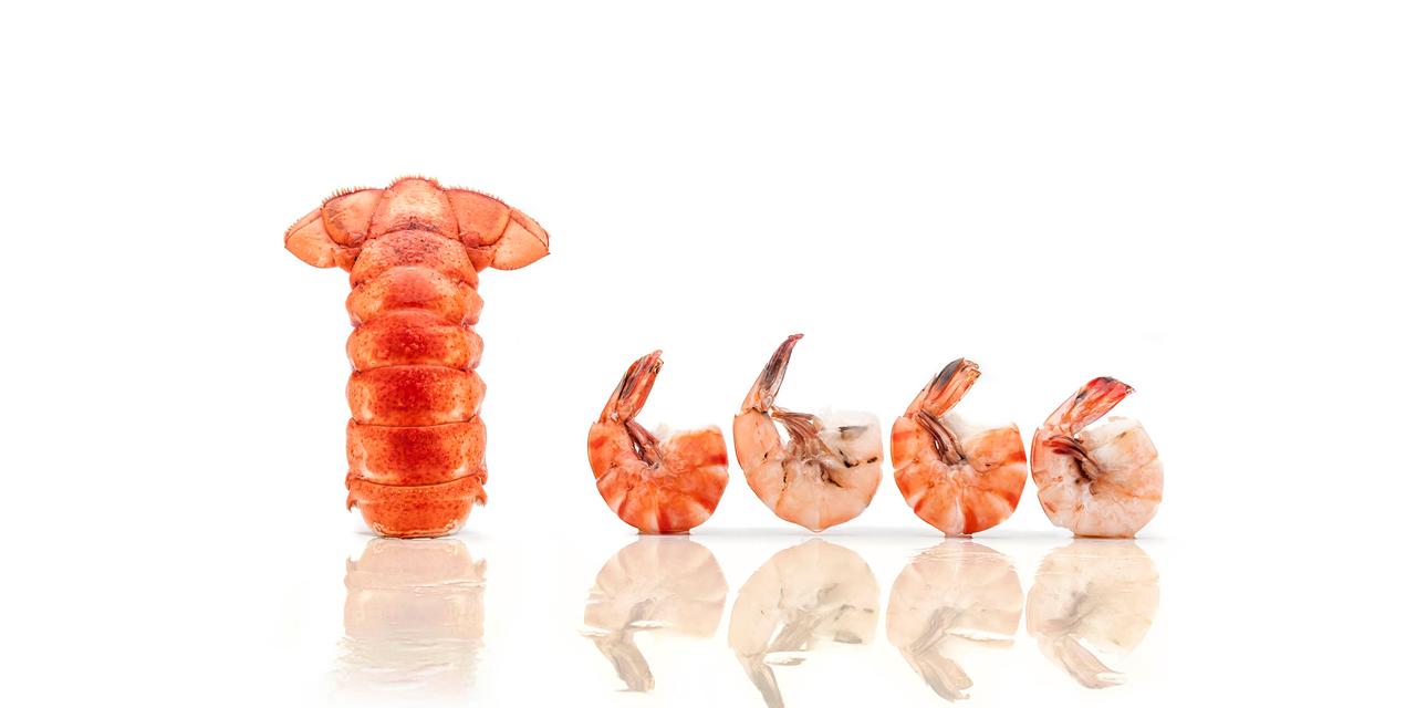 fresh lobster and shrimp seafood dinner serving