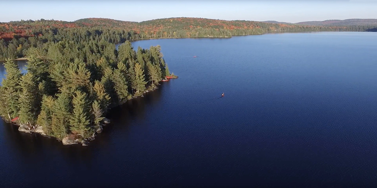 aerial view of killarney lodge and lake of two rivers in algonquin park canada